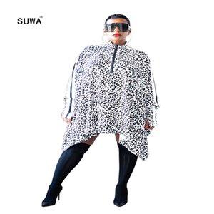 White Black Leopard Print Loose Irregular T-Shirt Dress 2020 Spring Streetwear Women Stand Collar Zip Up Long Sleeve Vestido T200526