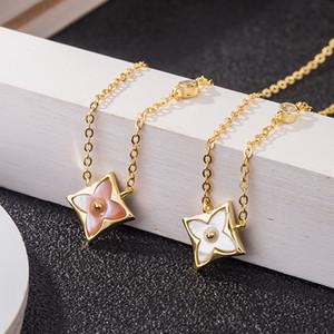 VL S925 18k prata esterlina aumentou desenhador diamante trevo pingente girassol cadeia colar clavícula ouro
