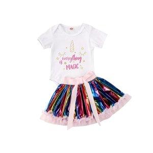 Infantile del bambino dei capretti vestiti della ragazza Set Estate manica corta 1st Birthday Unicorn Tops la tuta colorati Tutu Skirt Outfits
