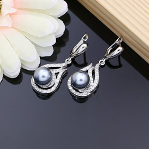 Bridal Women Gray New Sets Drop CZ Jewelry Ring Stone Pearl Silver Necklace Earrings 925 Set 2021 With Arrived Dropshipping Vdwsv
