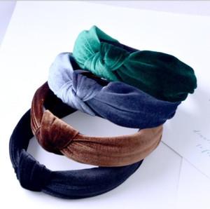 bağbozumu kadife düğüm tasarımı saf renk saç bantlarında kadın moda hairbands özel saç aksesuarları GB480