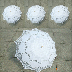 Hot Battenburg Lace Parasol e Fan Set Wedding Umbrella Fan Set Fã do laço e casamento Umbrella Lace Parasol