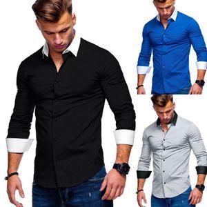 Мужские рубашки с длинным рукавом рубашки социального Contrast Воротник Мода Топы Мужской Slim Fit Черный Повседневный