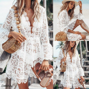 Verão Mulheres Bikini Cover Up Floral Lace oco Crochet Swimsuit Cover-Ups Terno Beachwear Túnica Vestido Praia