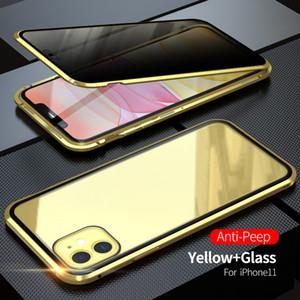 Anti-Peeping Gizlilik Koruması Manyetik Adsorpsiyon 360 Tam temperli cam Vaka IPhone 11 Pro Max XS Max XR XS 8 7 6 S10 Artı S9 S8 için