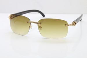 2020 frete grátis High-end óculos de sol quente T8200497 Big Diamante Óculos óculos escuros homens Preto chifre de búfalo Glasses Frame Size: 58-18-140mm