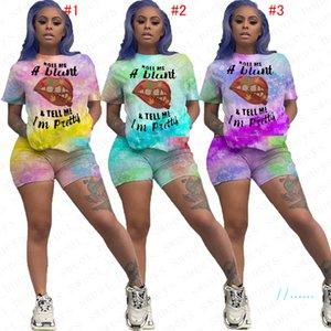 Survêtement été des femmes imprimé en dégradé manches courtes Pull T-shirt + Short Ensemble 2 pièces Tenues Survêtement Casual S-3XL D5717