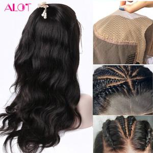 Frente pelucas de pelo humano de la onda del cuerpo del cuero cabelludo falso peluca 13x4 cordón invisible Remy Pre cuerda pulsada nudos blanqueados Transparente HD cordón de las pelucas
