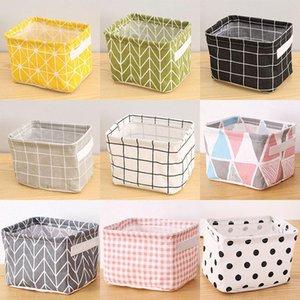 Storage Baskets Foldable Storage Basket Waterproof Cotton Linen Storages Bag For Desktop Clutter Cosmetic Snacks Toy Organization WX9-1765