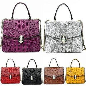 British Fashion Retro Female Crocodile Shoulder Bag 2020 Pu Leather Luxury Crocodile Shoulder Bag Women Bags Designer Rivet Girl Messenge#639