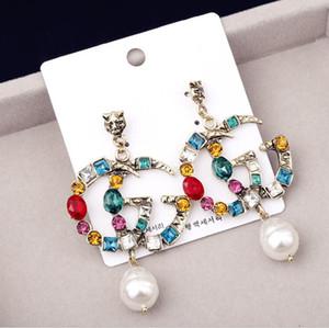 Berühmte Designer Ohrringe mit Kristallperlen Big Lange Ohrringe Schmuck für Frauen Rot Grün Weiß Gelb Bunte Stein Geschenk
