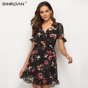 SINRGAN Fleurs imprimées à volants mini robe femme été en mousseline de soie robe femme robe de plage col en V manches courtes robes de fête