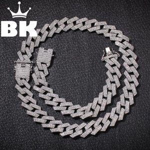 Neue Farbe 20mm Cuban Link Ketten-Halskette Art und Weise Hiphop Schmuck 3 Row Strass Iced Out-Halskette für Männer