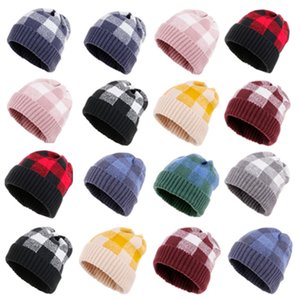 hot Knit Plaid Hat Woman Warm Winter Crochet Skull Cap Outdoor Lady Winter hat Christmas Stacking cap 12style Party SuppliesT2C5120
