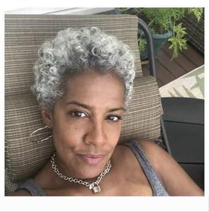 Silbergrau kurze hohen Pferdeschwanz Haarteil afro verworrene lockige Puff Tunnelzug Pferdeschwanz für schwarze Frauen, puff lockigen grauen reine Haarverlängerung