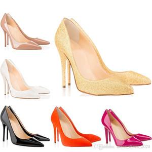 Christain Louboutin Luxo fundo vermelho designer de sapatos femininos de salto alto 8 cm 10 cm 12 cm Nudez negro Lótus raiz de amido Couro Apontou Toes Bombas vestido de festa