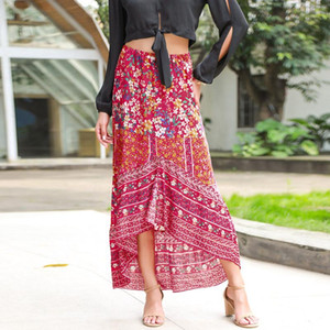 Boho Summer Women Beach Vocation Floral Skirt Asymmetrical Ankle-Length Bohemian Skirt Female Travel Look Basic Sunscreen