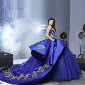 Kraliyet Mavi ve Altın Dantel Quinceanera Elbise Balo Straplez Aplikler Lüks Mezuniyet Balo Debutante Elbise Özel Boyut