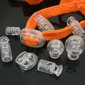 100pcs / lot cordon de verrouillage en plastique Stopper cordon fin Basculer clip transparent clair givre Lacet sport bricolage Sac Accessoires Pièces