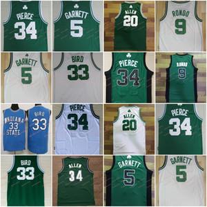 Erkekler 5 Kevin Garnett Jersey 9 Rajon Rondo 20 Ray Allen forması 34 Paul Pierce Basketbol formaları Beyaz Yeşil Dikişli Ucuz