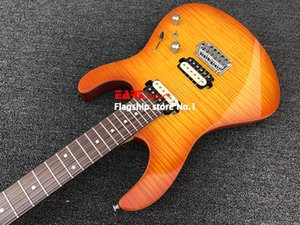 EART spot electric guitar tiger pattern maple veneer, yellow, Korean accessories, small double rocking bridge, peach core 2 spel