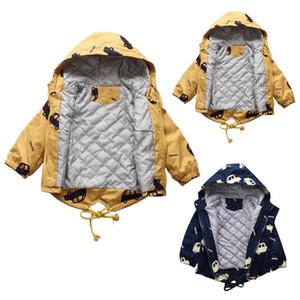 Kinder Winterjacke Jungen-Mädchen-Karikatur mit Kapuze warme starke Baby-Winter-Jacken-Mantel Outwear Snowsuit Doudoune Enfant winterjas Meisje