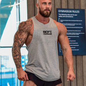 Muscleguys cotone Palestra canotte Uomini senza maniche tanktops Per Ragazzi Abbigliamento Bodybuilding Undershirt fitness Stringer Vest