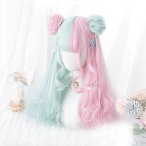 Cosplaymix los 57CM de Lolita Makaron color rosa Mezclado verde menta azul Ombre largo rizado Bangs linda sintético bollos peluca