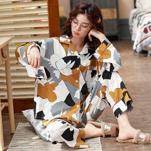 Plus Size 3XL Women Cotton Pajamas Set Long Sleeve 2 PCS Shirt&Pant Flower 2PCS Sleepwear Female Home Wear Casual Nightwear