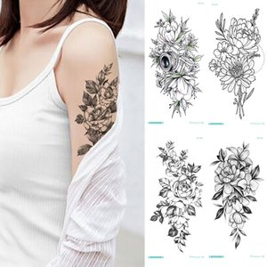 & Body Art Temporary Tattoos Temporary sticker flower peony rose sketches tattoo designs sexy girls model tattoos arm leg black
