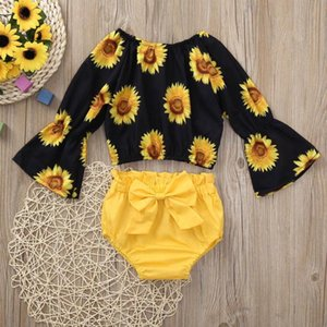 Ropa del bebé fijó 2 pedazos ropa de niños 2020 Girasol Imprimir Manga Larga Camiseta-top + shorts traje ropa de bebé
