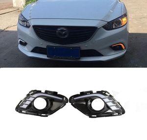 2 Pcs DRL Para Mazda 6 Mazda6 2013 2014 2015 luzes diurnas de nevoeiro tampa da lâmpada do farol 12 V Daylight car-styling