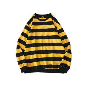 Fleece Suéteres Hombres camiseta clásica de rayas con capucha suéter masculino Streetwear Hip Hop del arco iris ocasional del suéter Pullover Hombres Ropa 2020