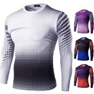 مصمم التنانير الموضة 3d طباعة سريعة جافة طويلة الكم Slim Tees Mens Sports Tshirt ركوب الدراجة