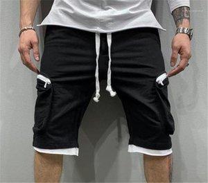 Summer Casual Solid Color Loose Pants Knee Length Multi Pockets Shorts Hip Hop Drawstring Cargo Shorts