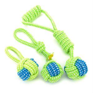 Pet Supply Hundespielzeug Hunde kauen Zähne sauber Außen Traning Fun grünen Seil-Kugel-Spielzeug für Groß Kleinen Hund Katze spielen