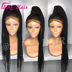 2019 NUEVO Cornrow trenza peluca llena sintética Box trenzas de pelo del frente del cordón pelucas larga Negro / marrón oscuro / burdeos / rubia africana pelucas de América
