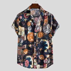 Summer Hawaiian Shirts Men's Linen Shirt Casual Button Hawaii Print Beach Short Sleeve Top Blouse Camisa Masculina Chemise Homme