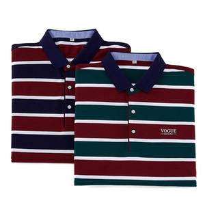 Rego Summer New Fashion Business Stripe flipped polo hombre Tencel Mercerized algodón manga corta camiseta hombres