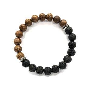Natural Amazonita Bead Matte Black Lava Pedra Crystal Sunstone Turquoise Retro Balance Cura de prata oração Yoga Bracelet Mulheres