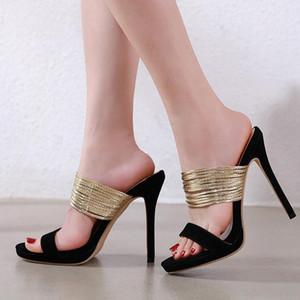 GUCCI Dior Chanel Givenchy UGG Louboutin las mujeres del diseñador de lujo atractivo de las sandalias de oro deslizamiento negro en tacones altos zapatilla de tamaño de 35 a 40