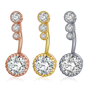 New Diamond Dangle Bares Belly Belly Button Anéis Belly Piercing de cristal Flor Body Jewelry piercing no umbigo Anéis Flor Forma Pendant DHL
