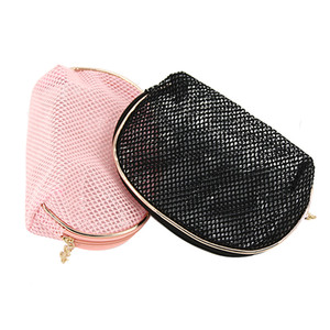 2 Mesh Storage Transparent Piece Pink Bag Packing Travel Bag Organizer Cosmetic Up Make Set Cube Toiletry Bags Black Case Ksknv