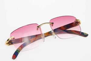 2019 Toptan Rimless gözlük tavuskuşu Ahşap güneş gözlüğü Sıcak 8200816 Çerçevesiz güneş gözlüğü Sıcak Unisex kedi gözü Ahşap gözlük Pembe Mercek Yeni optik