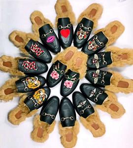 2020 роскоши людей дизайнер тапочек бренд мех Princetown тапочки женщины реального кожаные плоские тапочки кролик волосы ботинки