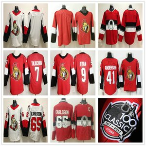 2020 New Ottawa Senators #7 Brady Tkachuk Jersey 65 Karlsson 9 Bobby Ryan 41 Craig Anderson 100th Classic Stitched Red Ice Hockey Jerseys