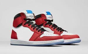 2018 Date Authentique 1 Haute OG Chicago Crystal 1 S Gym Rouge Spider Man Bleu-Noir Blanc-Photo Chaussures De Basket-ball Hommes Sports Sneakers 555088-602