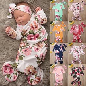 Мода цветочный принт новорожденных девочек мальчиков пеленать обернуть детское одеяло новорожденный цветочный спальный мешок лента для волос комбинезон 6 м