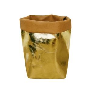 حقيبة التخزين عالية الجودة قابل للغسل كرافت ورقة حقيبة مصنع الزهور الأواني متعددة الوظائف الرئيسية إعادة استخدام العملية