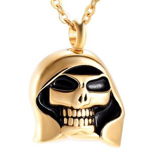 IJD9967 Кремация ювелирные изделия для Ashes Skeleton Gold Skull Урна ожерелье для Ashes Keepsake Мемориал кулон медальон для женщин мужчин с цепью